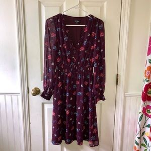 Express XS Petite Dress Deep Maroon/Purple